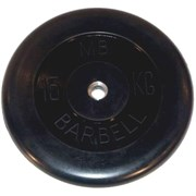 Диск обрезиненный черный Mb Barbell d-26 15 кг