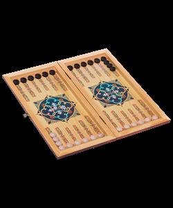 Нарды малые, цветной рисунок, деревянные шашки - фото 43538