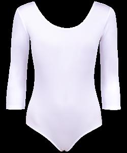 Купальник гимнастический с рукавом 3/4, полиамид, белый, р. 28-34 - фото 44220