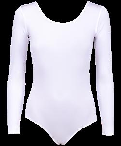 Купальник гимнастический с длинным рукавом, полиамид белый - фото 44264
