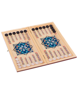 Нарды средние, с деревянными шашками, дубовые, цветной рисунок - фото 44272