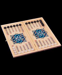 Нарды средние, с деревянными шашками, цветной рисунок - фото 44288