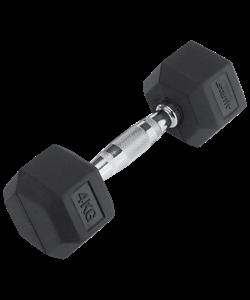 Гантель обрезиненная DB-301 4 кг, черная - фото 44573