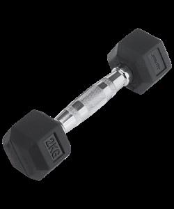 Гантель обрезиненная DB-301 2 кг, черная - фото 44575