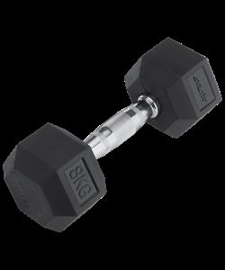 Гантель обрезиненная DB-301 8 кг, черная - фото 44584