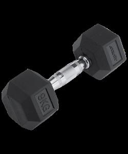 Гантель обрезиненная DB-301 9 кг, черная - фото 44586