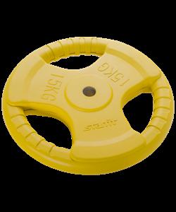 Диск обрезиненный BB-201, d=26 мм, желтый, 15 кг - фото 44651