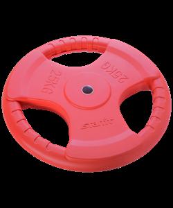 Диск обрезиненный BB-201, d=26 мм, красный, 25 кг - фото 44662