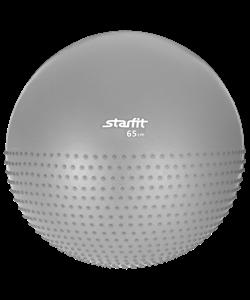 Мяч гимнастический полумассажный GB-201 65 см, антивзрыв, серый - фото 44689