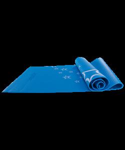 Коврик для йоги FM-102, PVC, 173x61x0,4 см, с рисунком, синий - фото 44703