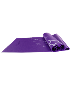 Коврик для йоги FM-102, PVC, 173x61x0,6 см, с рисунком, фиолетовый - фото 45298