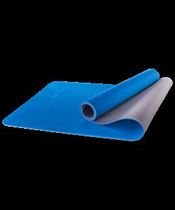 Коврик для йоги FM-201, TPE, 173x61x0,4 см, синий/серый - фото 45300