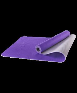 Коврик для йоги FM-201, TPE, 173x61x0,5 см, фиолетовый/серый - фото 45305
