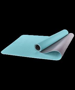 Коврик для йоги FM-201, TPE, 173x61x0,6 см, мятный/серый - фото 45310