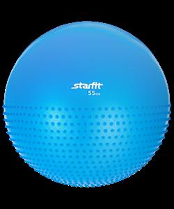 Мяч гимнастический полумассажный GB-201 55 см, антивзрыв, синий - фото 45335