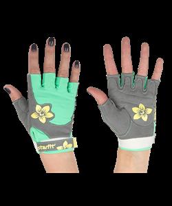 Перчатки для фитнеса SU-112, серые/мятные/желтые - фото 46257