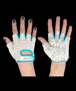 Перчатки для фитнеса SU-110, белые/голубые - фото 46273