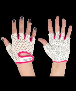 Перчатки для фитнеса SU-110, белые/розовые - фото 46288