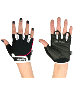 Перчатки для фитнеса SU-111, черные/белые/розовые - фото 46305
