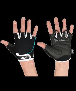 Перчатки для фитнеса SU-111, черные/белые/голубые - фото 46318