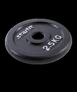 Диск чугунный BB-204 2,5 кг, d=26 мм, черный - фото 46582