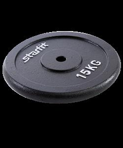 Диск чугунный BB-204 15 кг, d=26 мм, черный - фото 46583