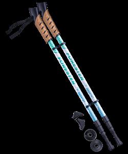 Палки для скандинавской ходьбы Forester, 67-135 см, 3-секционные, белый/мятный - фото 48544