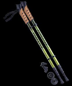 Палки для скандинавской ходьбы Forester, 67-135 см, 3-секционные, болотный/жёлтый - фото 48550