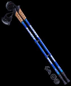 Палки для скандинавской ходьбы Rainbow, 77-135 см, 2-секционные, синий/голубой - фото 48568