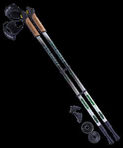 Палки для скандинавской ходьбы Starfall, 77-135 см, 2-секционные, чёрный/белый/ярко-зелёный - фото 48574