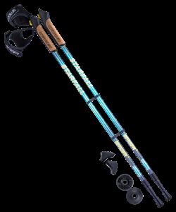 Палки для скандинавской ходьбы Starfall, 77-135 см, 2-секционные, синий/серый/жёлтый - фото 48586