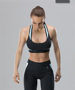 Женский спортивный бра-топ Intense PRO FA-WB-0102, черный/голубой - фото 54804