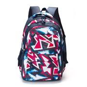Рюкзак TORBER CLASS X, темно-синий с розовым орнаментом, полиэстер, 45 x 30 x 18 см