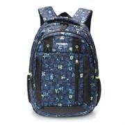 """Рюкзак TORBER CLASS X, темно-синий с рисунком """"Буквы"""", полиэстер, 45 x 32 x 16 см"""