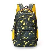 Рюкзак TORBER CLASS X, черно-желтый с орнаментом, полиэстер, 45 x 30 x 18 см