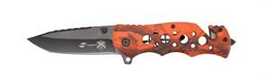 Нож складной Stinger, 86 мм (чёрный), рукоять: алюминий (оранж. камуфляж), картонная коробка