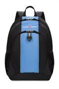 Рюкзак SWISSGEAR, чёрный/голубой, полиэстер 420D, 32х14х45 см, 20 л
