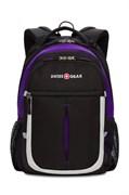 Рюкзак SWISSGEAR, чёрный/фиолетовый/серебристый, полиэстер 600D, 32х15х45 см, 22 л