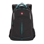 Рюкзак SWISSGEAR, черный/бирюзовый, фьюжн/2 мм рипстоп, 32x15x46 см, 22 л