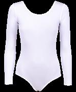 Купальник гимнастический с длинным рукавом, полиамид, белый, р. 36-42