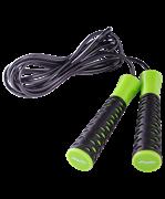 Скакалка STAR FIT RP-103 ПВХ с нескользящей ручкой, черный/зеленый, 3,05 м.