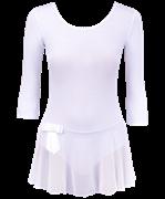 Купальник гимнастический с рукавом 3/4 и сетчатой юбкой, хлопок, белый, р. 36-42