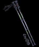 Палки для скандинавской ходьбы Longway, 77-135 см, 2-секционные, чёрный/ярко-зелёный