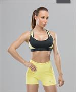 Женский спортивный бра-топ Intense PRO FA-WB-0102, черный/желтый