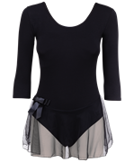 Купальник гимнастический AA-181, рукав 3/4, юбка сетка, хлопок, черный (28-34)