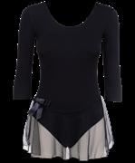 Купальник гимнастический AA-181, рукав 3/4, юбка сетка, хлопок, черный (36-42)