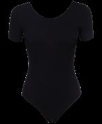 Купальник гимнастический AA-140, с коротким рукавом, хлопок, черный (36-42)