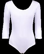 Купальник гимнастический AA-141, рукав 3/4, полиамид, белый (36-42)