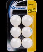 Мяч для настольного тенниса 2* Prestige, белый, 6 шт.