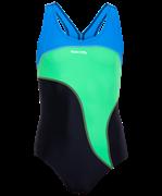 Купальник для плавания SC-5910 Wave, детский, совместный со вставками, чер./салат./гол., 32-42